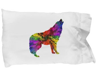 RAINBOW WOLF - Pillowcase - Colorful Art - Wolves - Bedding - Pillow Case - Gift - Home Decor