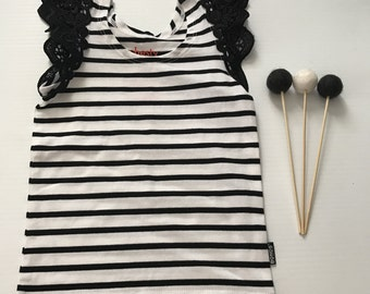0- Flutter Sleeve Singlet- Black/White Stripe