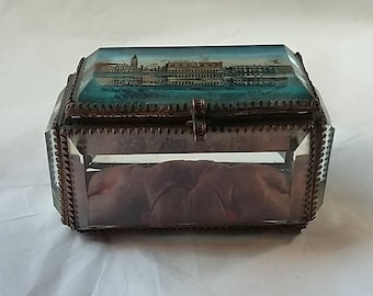 Antique French Beveled Glass & Gilded Brass Jewelry Display Casket Case Reverse Painting