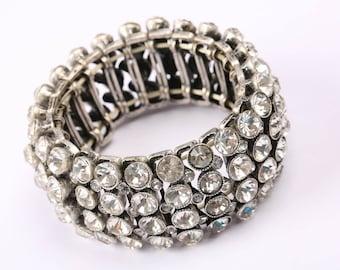 1960s Vintage Expandable Rhinestone Bracelet