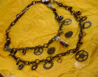 One of a kind, handmade Unique design, Goth, Steampunk, Metal, Chain necklace with Charms, Gears and vial