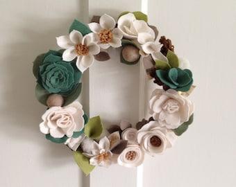 Felt Flower Wreath // Wreath//  Floral Wreath // Wedding Wreath // Winter Wreath