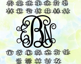 Vine Monogram Font svg, png, cdr, cut file for cutting machines, instant download