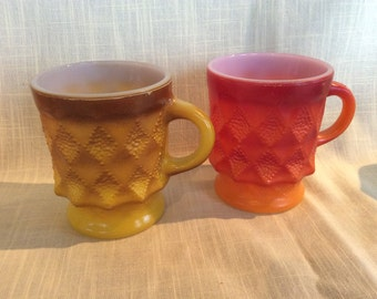 Vintage Anchor Hocking Fire King yellow and rust Kimberly pattern mugs C handle