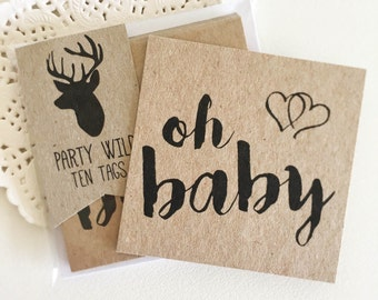Oh Baby -  Baby Shower Tags Pk10 - Rustic.