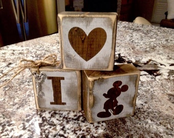 Rustic reclaimed Disney, Mickey Blocks
