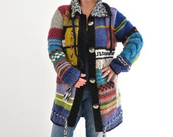 Thick, colorful sweater coat in a patchwork design