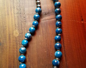 Blue glass with white swirls necklace