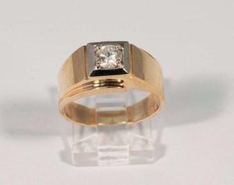 1970s 14K Yellow Gold Mens .60 ct. Diamond Ring, Size 8.5