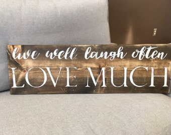 Live Laugh Love   Handpainted Wood Sign   Live Well Sign   Inspirational Sign