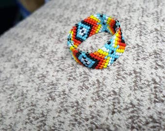 Handmade Native American Beaded Ring Size 10 1/2. Great addition to your ring assortment...on middle finger even!