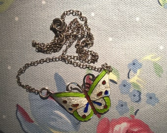 Vintage Sterling Silver Guilloche Enamel Butterfly Necklace