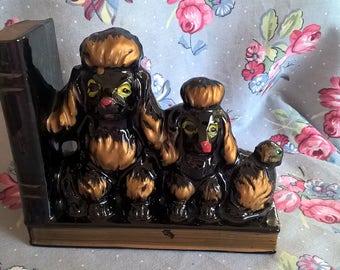 Vintage Terracotta Poodles Bookend
