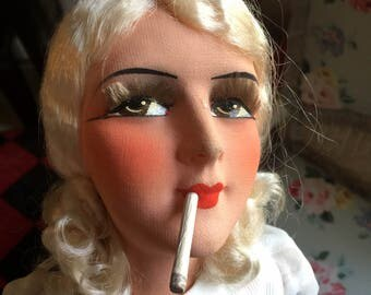 SOLD    for Diane Squires        FAB / Boudoir Doll/ French /1920/ looks like actress / Jean Harlow? Flapper/ Smoker