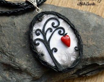 Inspirational Black and white necklace Tree necklace Tree jewelry Fantasy necklace Unusual necklace Unusual jewelry Polymer clay jewelry