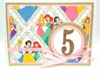 Disney Princess Birthday Card, Handmade Greeting Card, Card for Girl, Princess Birthday Card