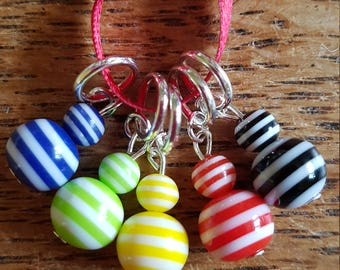 5 lightweight Beaded Knitting stitch markers. Bright stripes