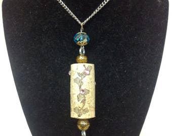 Upcycled wine cork necklace with embelishments