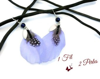 Silver earrings Periwinkle Blue feathers and Guinea fowl and charms - hand made - French