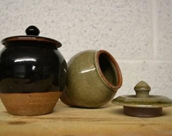 Small lidded jars