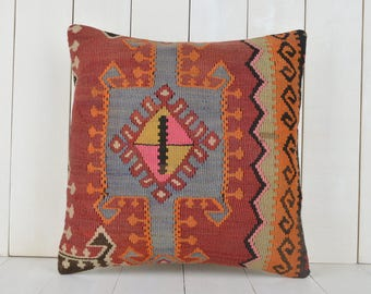 16x16 turkish kilim pillow cover kilim pillow decorative pillow vintage pillow bohemian pillow kilim cushion cover home decor pillow