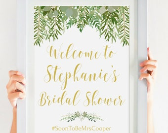 Bridal Shower Printable Welcome Sign, Rustic Bridal Shower Decoration, Greenery Wedding, Gold Bridal Shower Decor, Personalized