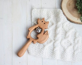 Rattle with Bell. Organic Wooden Teething Toy. Fox Rattle. Natural Wooden Toy. Eco Friendly Infant Toy. Newborn gift.
