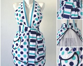 Vintage Style Full Apron Blue polka-dots apron Striped apron Cute retro apron Handmade apron Womens aprons Vintage apron Kitchen decor