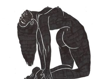 Ustrāsana Illustration, Digital Print