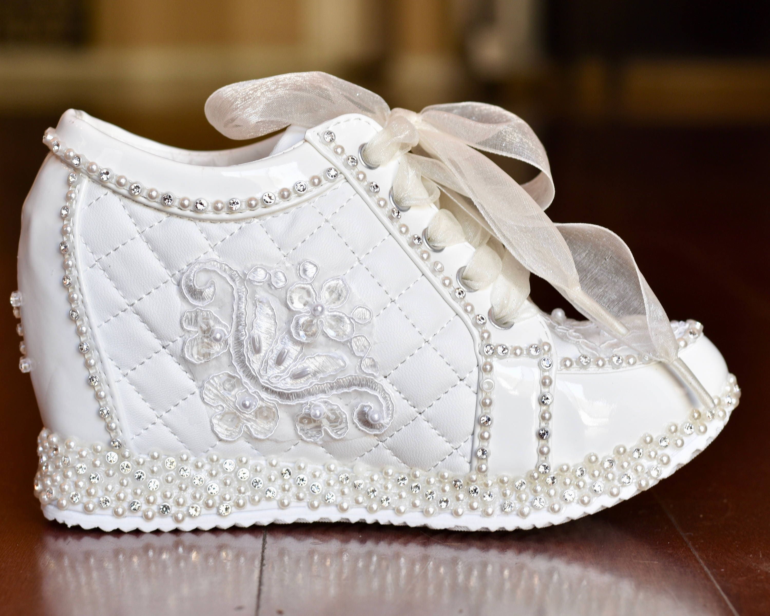 Wedding Shoes. White or Light Ivory Wedge Sneakers Bridal Shoes ...