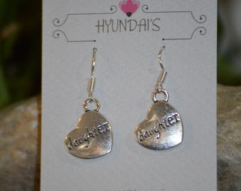 Silver heart that says Daughter a perfect gift for that special Daughter even for mother's day.