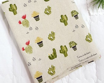 """Cactus Patterned Linen Cotton Fabric made in Korea 45cm by 145cm or 18"""" by 57"""" Half Yard"""