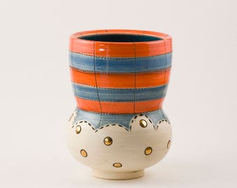 Ceramic cup, striped cup, pottery cup, wine cup, handmade pottery, handmade cup, handmade ceramic cup, gold cup, yunomi, ceramic, beer cup