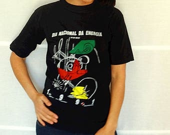 RARE 1991 t-shirt National Energy Day tee promotional t-shirt mens womens black tee graphics tee black printed t-shirt Size S vintage 91