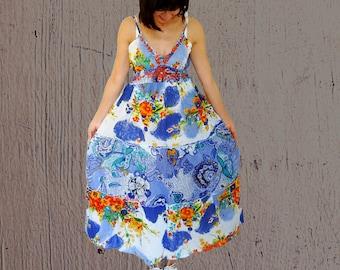 Sleeveless sundress maxi floral blue embroidered sun dress high waisted long cotton hippie dress US size 12 Medium Large Vintage 1990s