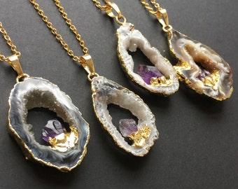 Crystal Geode Necklace, Geode Slice, Geode Pendant, Amethyst, Amethyst Nugget Pendant, Druzy Pendant, Agate Necklace, Crystal Necklace