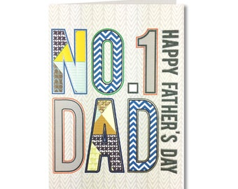 Geo Collection - Fathers Day Card - No.1 Dad, Happy Fathers Day - Handmade Greeting Card - GE24