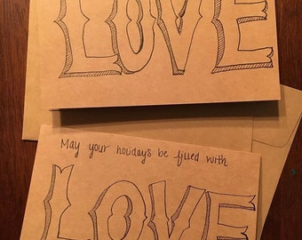 May your holidays be filled with LOVE Holiday Cards (pack of 5)