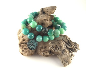 Genuine Green Moss Opal Beaded Bracelet Set with Patina Copper Accents