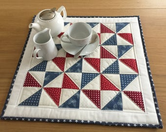 Red table topper, blue quilted table runner, pinwheel table topper, patriotic table topper, table mat, table centrepiece, wall hanging