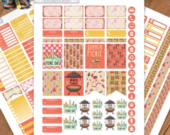 Printable Planner Stickers, BBQ PICNIC Stickers, Erin Condren Life Planner, Summer Planner, June Sticker Kit, June Weekly, Summer Stickers