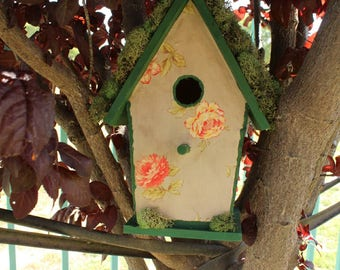 Floral Print Birdhouse, Mod Podge, Outdoor Birdhouse, Garden Decor, Outdoor Decor, Mossy, Floral Print Fabric, Gift for Her, Gift for Mom
