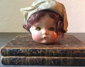 Vintage Creepy Doll Head Assemblage Altered Art