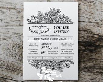 Wedding Invitation | Custom invitations | Unique invitations | Wedding stationery | Elegant invites - Hand Delivery White