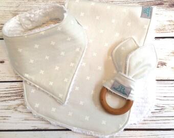Gray and White X Baby Gift Set | Bandana Bib | Baby Shower Gift | Burp Cloth | Organic Teether | Gender Neutral Baby Gift |New Mom Baby Gift
