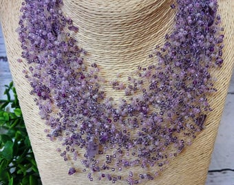 Amethyst stone airy crochet necklace bridesmaid multistrand statement gift for her cobweb unusual natural stone gift idea beaded casual bead