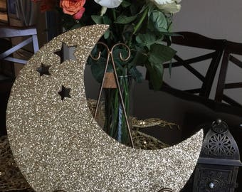 Crescent & Stars Sparkly Decor
