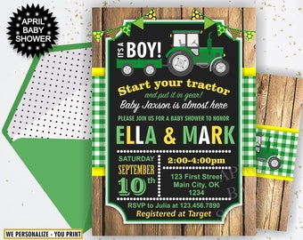 Tractor Baby Shower Invite, Tractor Invitation, Tractor Baby Shower Invitations, Yellow Woodland Green Plaid Boy Farm BST1 46