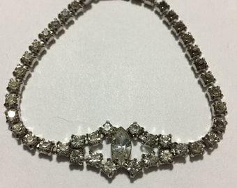 Rhinestones Bracelet - Belle - Bridal Jewelry - Vintage Rhinestones - Clear Rhinestones