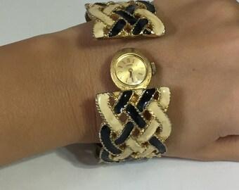 Coro Watch - Cuff Bracelet - Women Watch - Vintage Watch - Vintage Bracelet - Two in one Bracelet